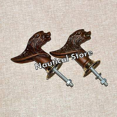 Set 2 pcs Vintage Solid Metal Big Lion  Retro Entry Door Handle #