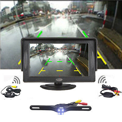 "HD Car Backup Camera Rear View System Night Vision+Wireless 4.3"" TFT LCD Monitor"