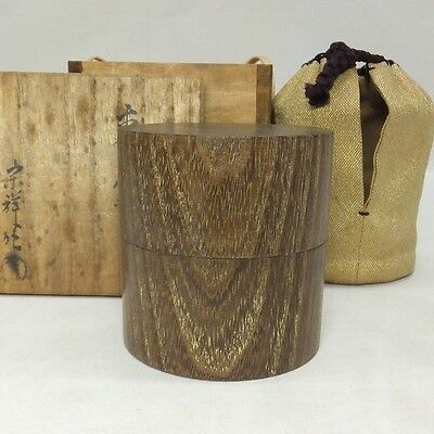 B551: Japanese wooden powdered tea container made from KUWA with Shifuku, box