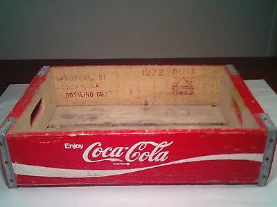 Vintage Coca Cola Wood Crate Coke Carrier Wooden Red White Carry Case Soda Pop