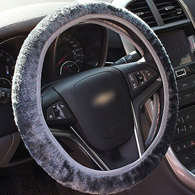 Universal Soft Wool Plush Fuzzy Auto Car Steering Wheel Cover For Winter Grey