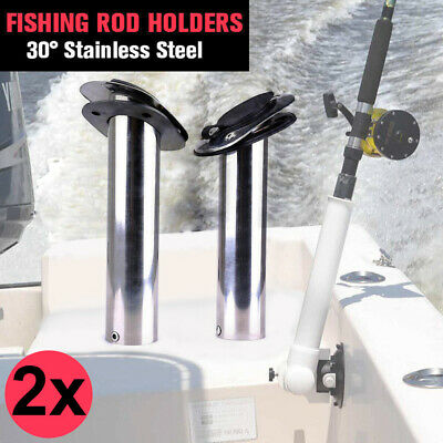 4x Stainless Steel Flush Mount Boat Fishing Rod Holders w/Gasket Cap 30 Degree