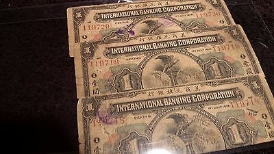 3 Running Numbers International Banking Corporation 1919 Peking China Cancel $1