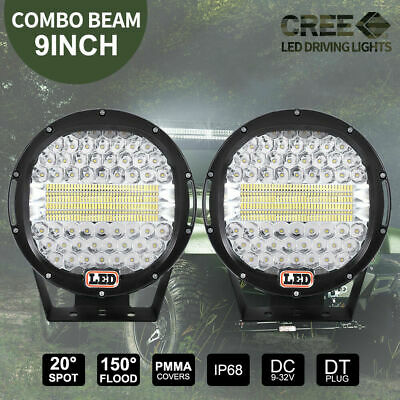 PAIR 9 inch LED SPOT Driving Lights Round CREE Spotlights 12V 24V BLACK 99999W