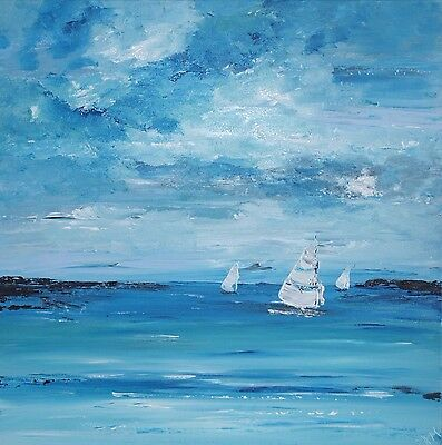 ORIGINAL CONTEMPORARY MODERN ABSTRACT SEASCAPE KNIFE PAINTING 60x60cm box canvas