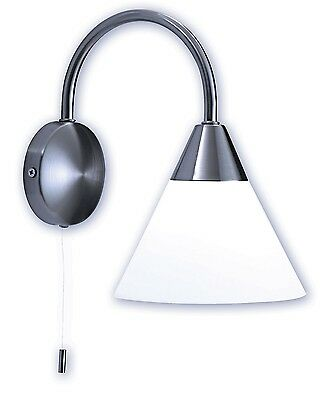 Contemporary Brushed Chrome & White Glass Wall Light Reading Lamp With Pull Cord