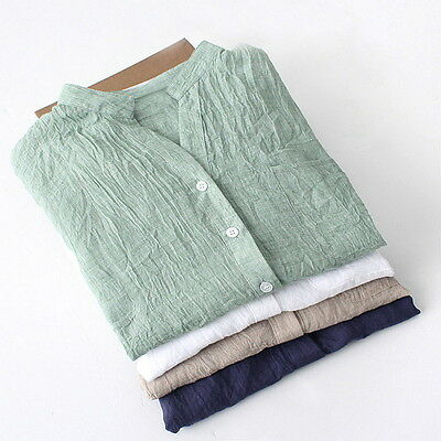 Ladies Sheer Thin Loose Linen Shirt Top Roll Up Sleeve Button Casual Blouse