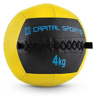 Top Capital Sports Wallba 4 Ball 4Kg Kunstleder Gelb Medizinball Fitnessball Neu