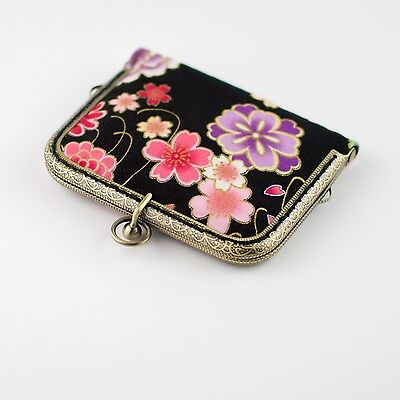 Handmade gold embossed Japanese Sakura card wallet purse collectable #0101
