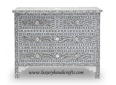 Mother of Pearl Inlay Floral Chest of Four Drawer Grey