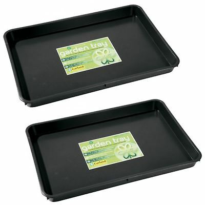 Garland Standard Garden Plant Pot Watering Soil Growbag Seed Tray Plastic 2 Pack