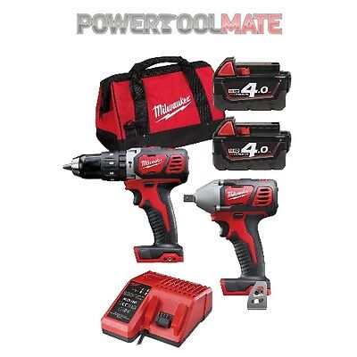 Milwaukee M18BPP2G-402C Combi Drill and Impact Wrench Kit with 2 x 4Ah Batteries