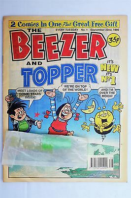 The Beezer And Topper #1 September 22nd 1990 FN+ Vintage UK Comic Free Gift