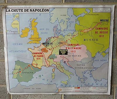 Vintage Double Sided French School Map Poster Europe 1815-1871 & Napoleon