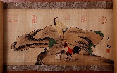 Rare Chinese Handwork Animals Old Scroll Painting Collection Marked LvJi KK122