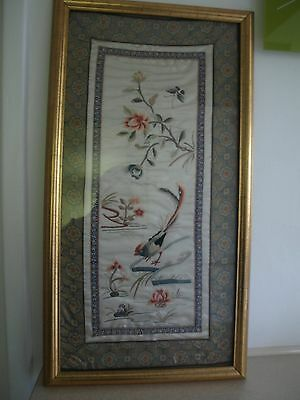 Vintage unframed Chinese embroidery bird , butterfly  & flowers