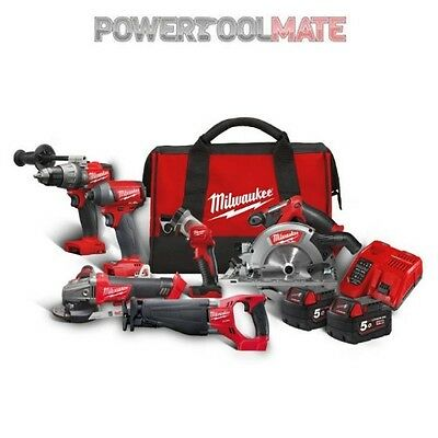 Milwaukee M18FPP6A-502B Fuel Cordless 6 Piece Kit with 2 x 5.0Ah Batteries