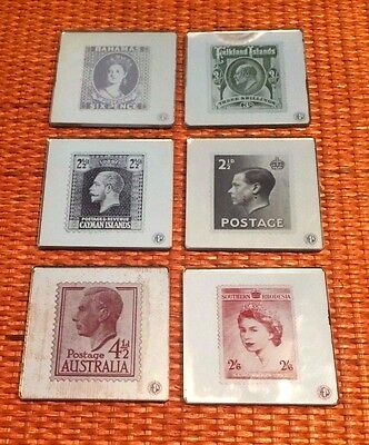 SET of 6 MIRRORED COASTERS; QUEEN VICTORIA to QE II(+ ABDICATED EDWARD VIII) 3""