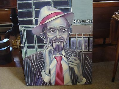 Folk Art Outsider Painting Portrait Vintage Large & Unusual Jazz Look