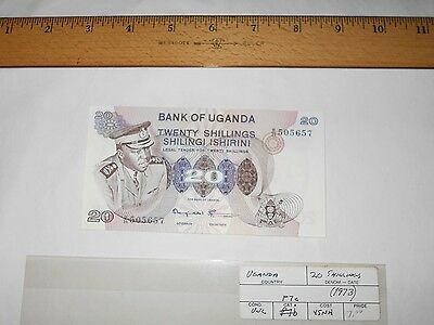 1973 Bank of Uganda UNC 20 Shillings Banknote w/ Pres.  Idi Amin on Front