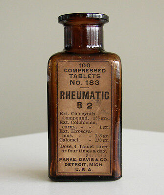 Antique/VTG Drug Store Pharmacy Apothecary Medicine Glass Bottle Rheumatic RX437