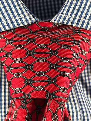Men's Gucci Silk Red Chain Pattern Neck Tie Made in Italy