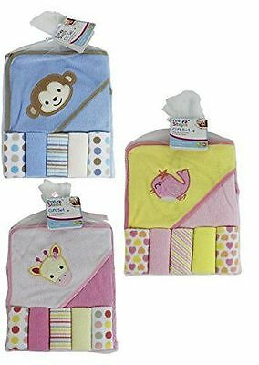 Boys' and Girls' Hooded Baby Towel & Wash Cloth Sets - First Steps