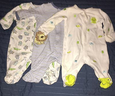 Lot of 3 Long Sleeved Newborn Footed Sleepers Pajamas - Excellent Condition