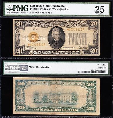 Nice *rare* Star Note 1928 $20 Gold Certificate! Pmg 25! Free Ship! *00236517A