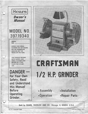 28246 Craftsman 397.19340  1/2 H.P. Grinder Owner's Manual Instructions