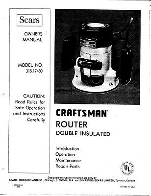 1980 Craftsman 315.17480  Router Instructions