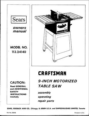 "1974 Craftsman 113.24140  9"" Motorized Table Saw (SP3979-4) Instructions"