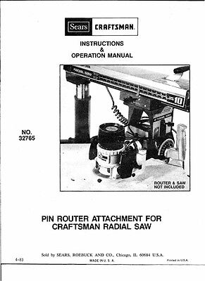 1983 Craftsman 32765 Pin Router Attachment for  Radial Arm Saw INSTRUCTIONS ONLY