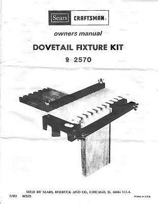 1983 Craftsman 720.2570  Dovetail Fixture Owner's Manual Instructions