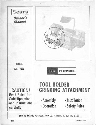 1976 Craftsman 335.19595  Tool Holder Grinder Attachment Instructions