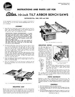 """1951 Atlas  No. 3060, 3070 and 3080 10"""" Tilt Arbor Table Saw  Instructions"""
