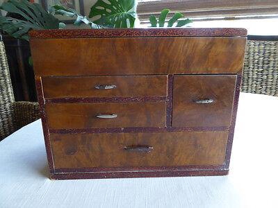 Vintage Japanese Lacquered Wood Sewing Box, Haribako, Jewelry Chest