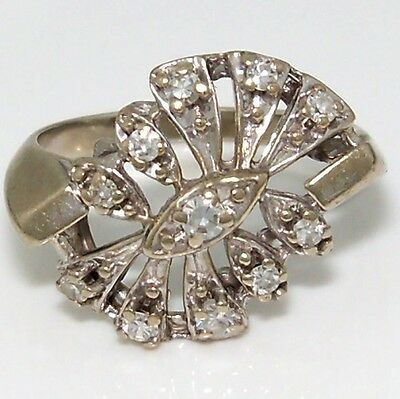 Vintage Solid 14K White Gold White Sapphire Cluster Estate Ring Size 5.75 ZQ2