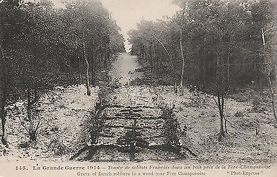 WW1 Fere Champenoise soldiers graves 1914. War damage postcard.(wd18)