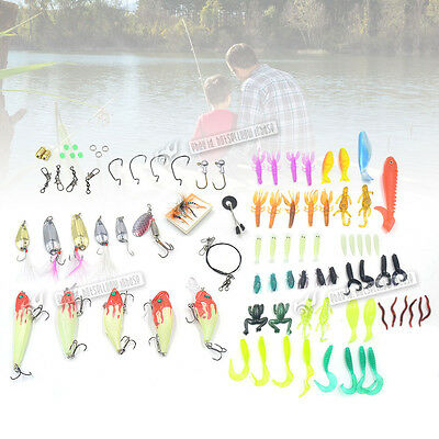 100pcs Fishing Lures Spinners Plugs Spoons Soft Bait Pike Trout Salmon + Box Set