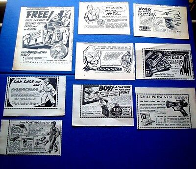 Dan Dare Cards & Album Belt Watch Roto Game Jacket 5 Stunning Adverts From 1954