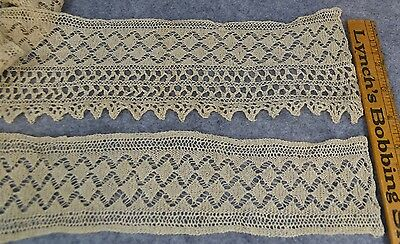 knitted lace trim yards wide off white handmade flat antique original