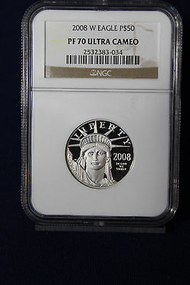 2008-W 1/2 oz $50 Proof Platinum American Eagle NGC PF 70 Ultra Cameo