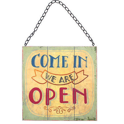 Vintage Two Sided Open & Closed Rustic Shop Hanging Sign With Metal Chain