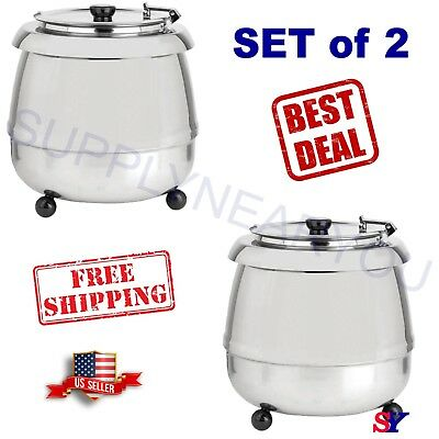 2 X 11 Qt. Round Stainless Steel Countertop Food/Soup Kettle Warmer Commercial