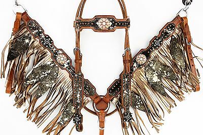 Gold Fringe Leather Horse Show Headstall Bridle Breast Collar Splatter Paint