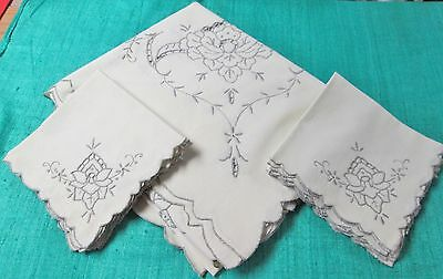 Antique Embroidered Tablecloth & 12 Napkins Madeira? Cutwork Very Elegant