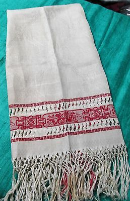 Antique Turkey Red & White Damask Fringed Show Towel Fruits & Florals Drawnwork