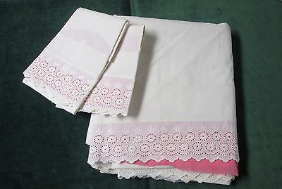 Antique LINEN Sheet Set Floral Eyelet Embroidery Bands Trousseau Treasure