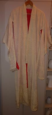 1930s JAPANESE CREAM SILK  BROCADE KIMONO SIZE MEDIUM GOOD  CONDITION